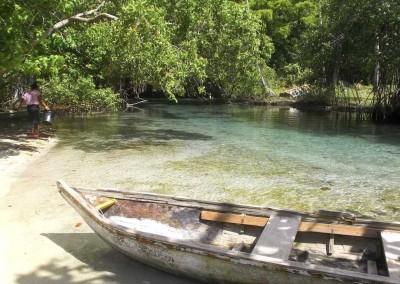 The sweetwater river at Playa Rincón close to Las Galeras