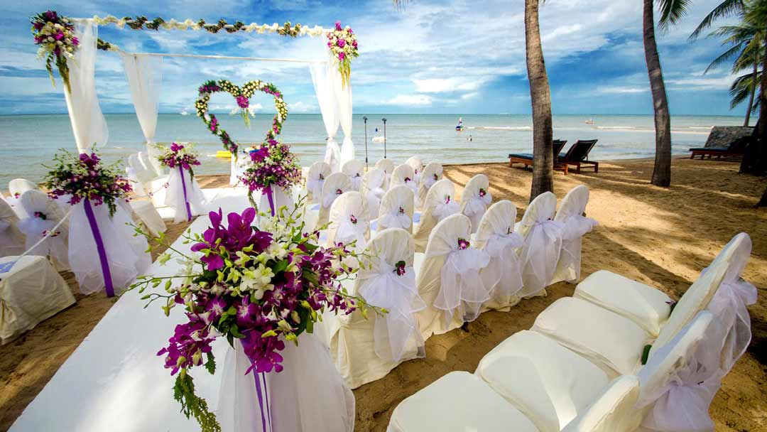 A destination wedding at the beach