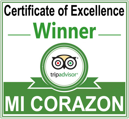The cartificate of Tripadvisor for MI CORAZON Catering