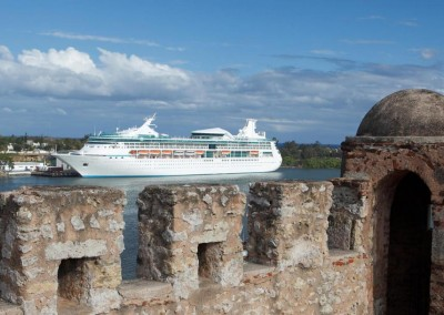 View from the Zona Colonial to a cruise ship anchoring in Santo Domingo