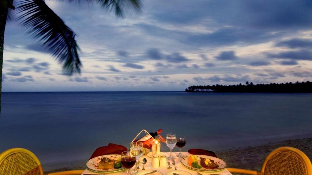 Dinner table at dusk, Las Galeras, Samana.