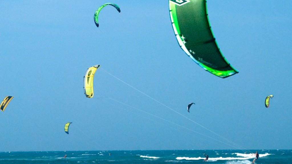 Kite boarding off Cabarate beach.