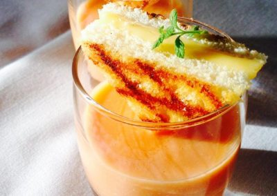 Andalusian gazpacho with grilled cheese sandwich