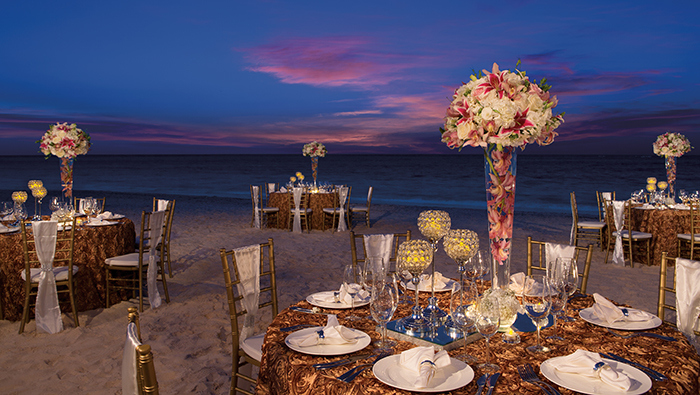 Wedding dinner at the beach