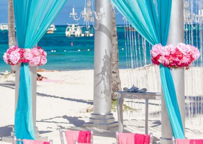 "Gazebo ""Cheerful mix of Fuchsia and different shades of Blue"""