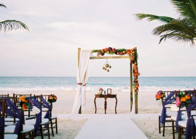 Colorful beach wedding gazebo