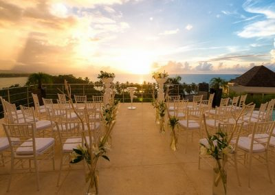 Wedding ceremony set-up with beautiful ocean view