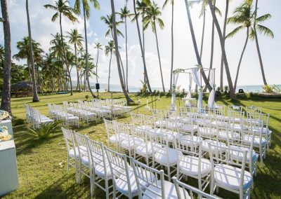 Destination wedding ceremony in a tropical garden
