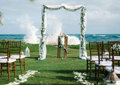 White gazebo ocean view wedding