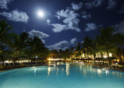 Illuminated pool at night, Viva Wyndham Tangerine Cabarete