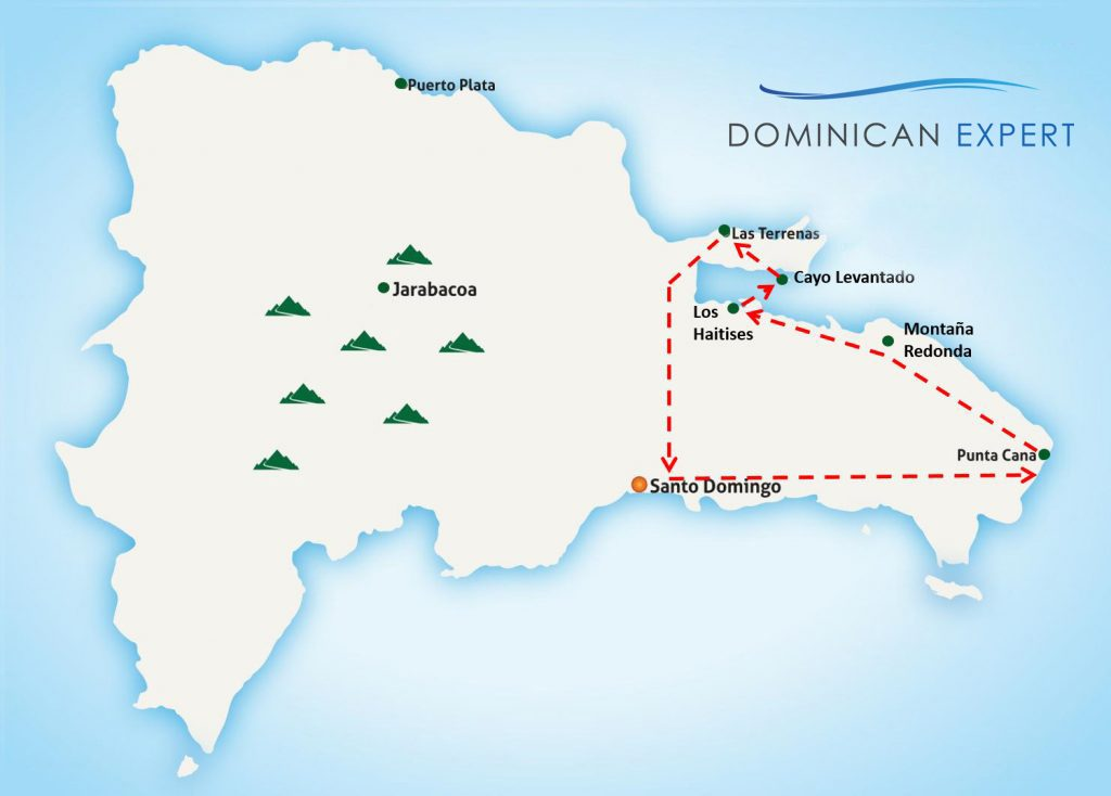 This map shows the route of our trip 'Samaná Explorer'