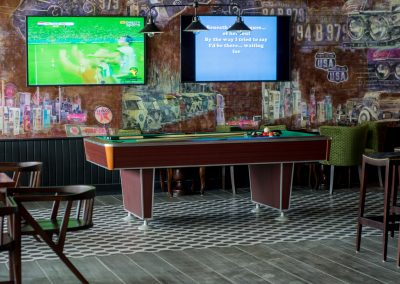 Sports bar and games room at the all-inclusive hotel Emotions by Hodelpa Playa Dorada in Puerto Plata, Dominican Republic