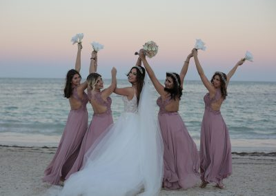 Bridesmaids on the beach in Punta Cana