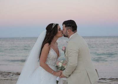 Wedding couple on a Caribbean beach
