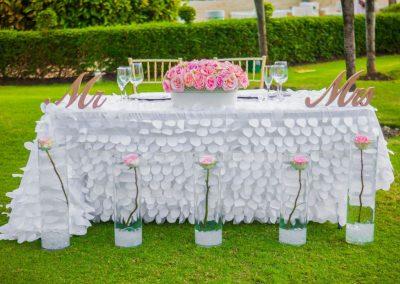 Sweetheart table for garden reception