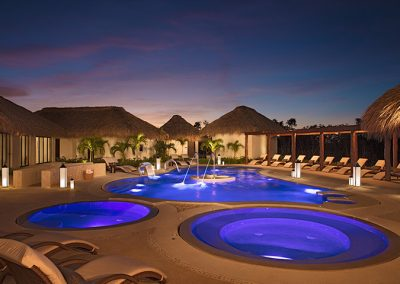 Spa Circuit at Night at the all-inclusive hotel Secrets Cap Cana in Punta Cana, Dominican Republic