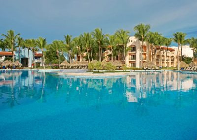 Pool area at the all-inclusive hotel Iberostar Hacienda Dominicus in Bayahibe