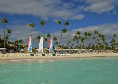 Watersports and beach area at the all inlusive hotel Ocean Blue and Sand iin Punta Cana, Dominican Republic
