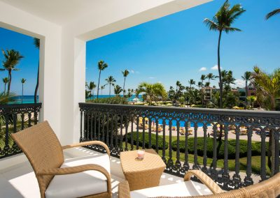Ocean view terrace at the all inlusive hotel Ocean Blue and Sand iin Punta Cana, Dominican Republic