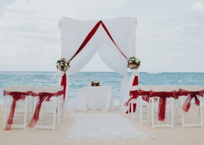 Set-up for a beachfront wedding ceremony at the all-inclusive hotel Ocean Blue & Sand in Punta Cana, Dominican Republic
