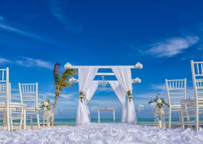Wedding Ceremony at the beach at the adults only all-inclusive hotel Secrets Cap Cana in Punta Cana, Dominican Republic