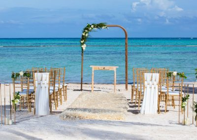Beachfront wedding ceremony at the adults only all-inclusive hotel Secrets Cap Cana in Punta Cana, Dominican Republic