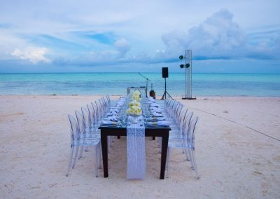 Beachfront wedding dinner at the adults only all-inclusive hotel Secrets Cap Cana in Punta Cana, Dominican Republic