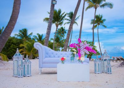 Beachfront lounge fr a wedding at the adults only all-inclusive hotel Secrets Cap Cana in Punta Cana, Dominican Republic