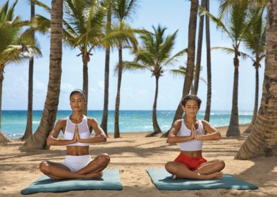 Yoga by the beach of the all inclusive hotel Dreams Punta Cana in the Dominican Republic