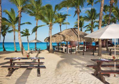 Beachfront grill restaurant at the all inclusive hotel Dreams Punta Cana in the Dominican Republic