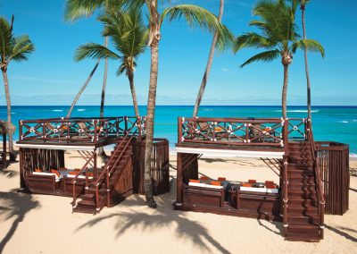 VIP Lounge at the beach of the all inclusive hotel Dreams Punta Cana in the Dominican Republic