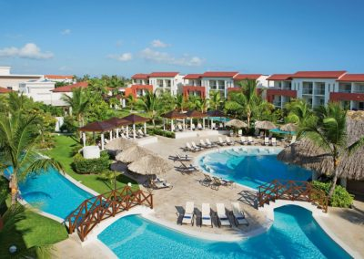 Aerial View of the Pool and Garden Area of the all inclusive hotel Now Larimar in Punta Cana, Dominican Republic