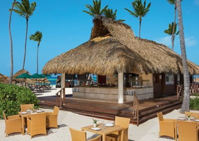 Barefoot Grill Restaurant at the beach of the all inclusive hotel Now Larimar in Punta Cana, Dominican Republic