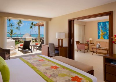 Spectacular views from the Preferred Club Master Suite Ocean Front at the all inclusive hotel Now Larimar in Punta Cana, Dominican Republic