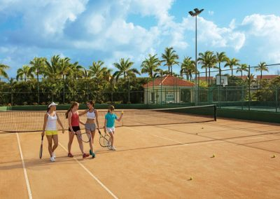 Tennis court at the all inclusive hotel Now Larimar in Punta Cana, Dominican Republic