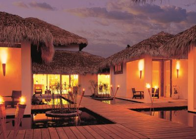 Beautifully lit up Spa area at the all inclusive hotel Dreams Punta Cana in the Dominican Republic