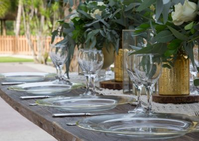 Table decoration for a wedding reception at the all-inclusive hotel Dreams Punta Cana in the Dominican Republic