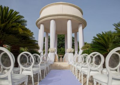 Wedding ceremony at the tropical garden Gazebo of the all-inclusive hotel Dreams Punta Cana in the Dominican Republic