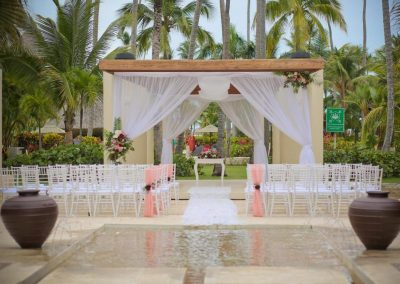 Beautiful wedding ceremony in the tropical garden of the all inclusive hotel Now Larimar in Punta Cana, Dominican Republic