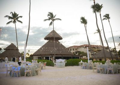 Beachfront wedding reception at the all inclusive hotel Now Larimar in Punta Cana, Dominican Republic