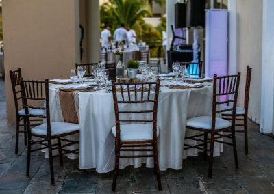 Beautiful dinner tables for a wedding reception at the all inclusive hotel Now Larimar in Punta Cana, Dominican Republic