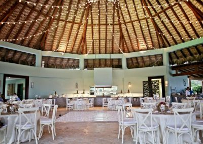 Wedding reception and party with DJ and dancefloor in a private restaurant of the all inclusive hotel Now Larimar in Punta Cana, Dominican Republic