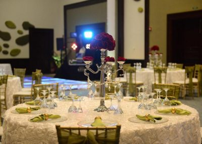 Elegant ballroom wedding dinner at the all inclusive hotel Now Larimar in Punta Cana, Dominican Republic