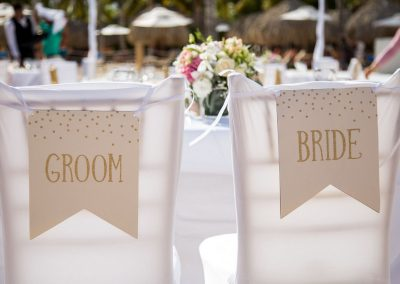 Decoration details of a wedding reception at the all-inclusive hotel Dreams Dominicus La Romana in Bayahibe