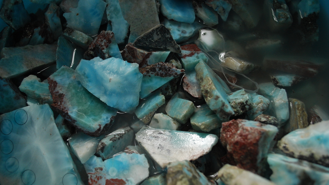 Larimar Stones in the Dominican Republic
