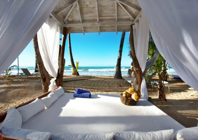 Bali beds on the beach at the all-inclusive hotel Viva Wyndham V Samana (Adults Only) in Las Terrenas, Dominican Republic