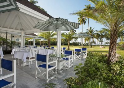 Outdoor area of the buffet restaurant at the all-inclusive hotel Viva Wyndham V Samana (Adults Only) in Las Terrenas, Dominican Republic