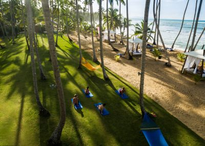 Yoga at the beach at the all-inclusive hotel Viva Wyndham V Samana (Adults Only) in Las Terrenas, Dominican Republic